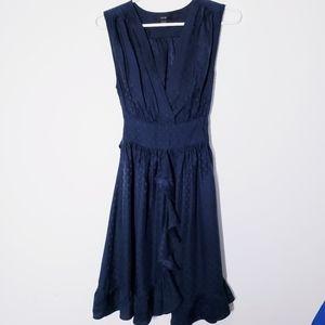 Jacob silk dark blue sleeveless ruffle dress sz 2